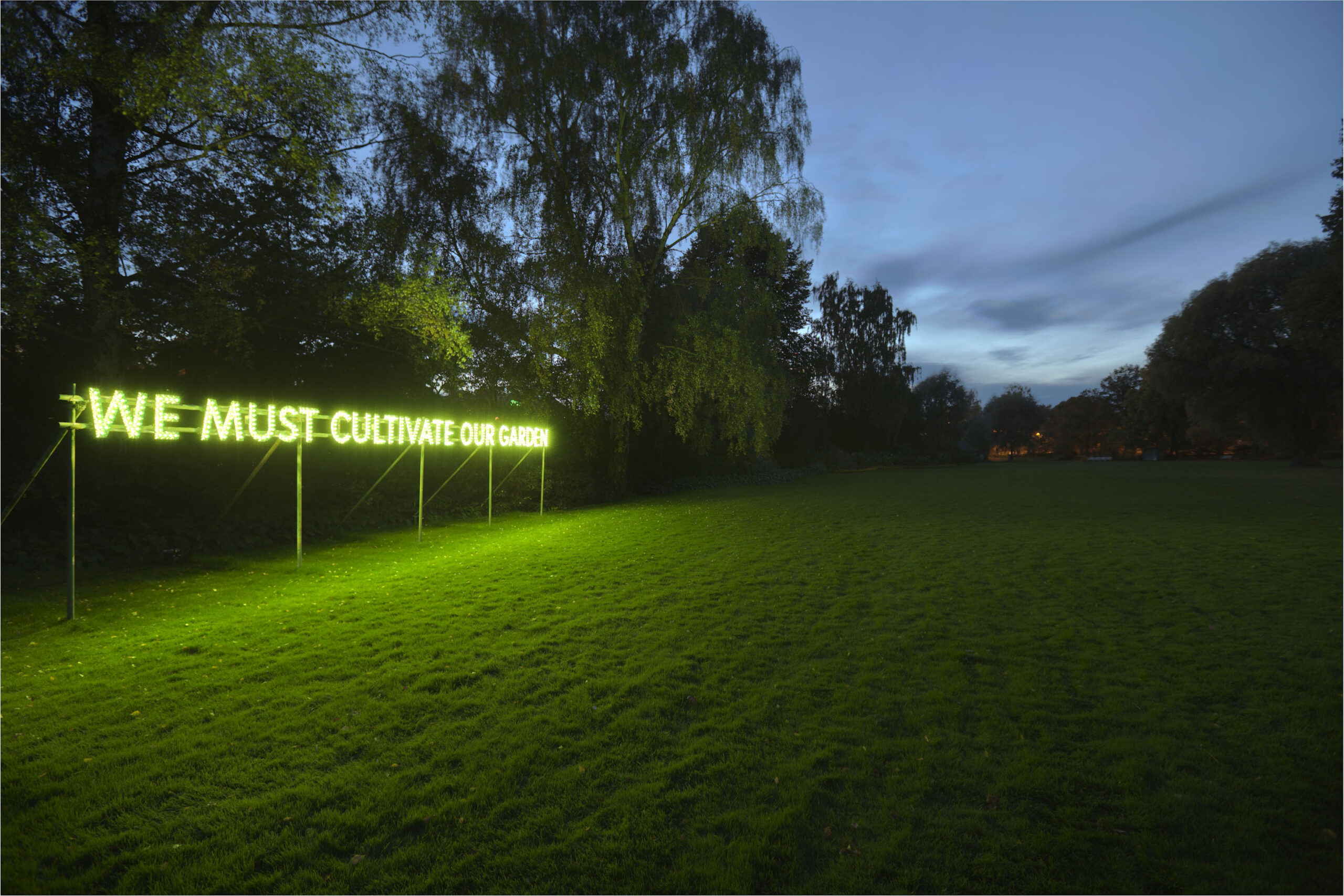 Nathan Coley, We Must Cultivate Our Garden, 2007. Photo: Jean-Baptiste Béranger