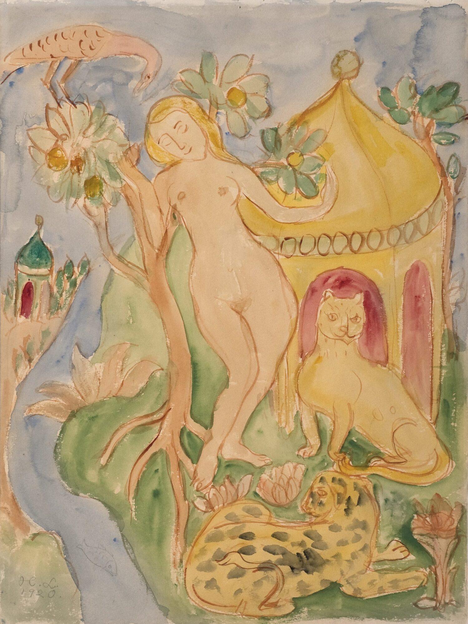 Hilding Linnqvist, Dekorativ skiss, 1920. Foto: Leif Mattsson