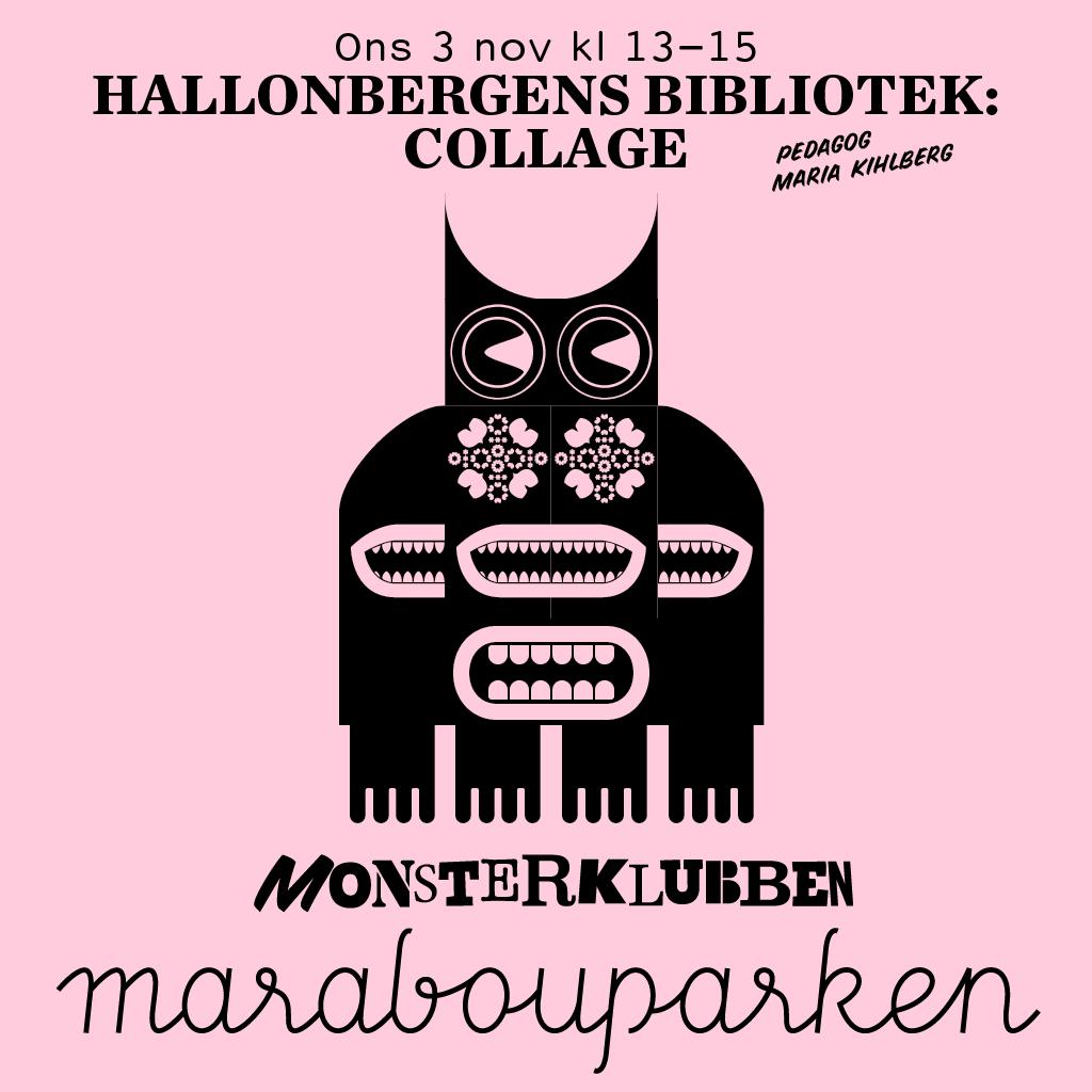 Illustration Hallonbergens bibliotek: Collage