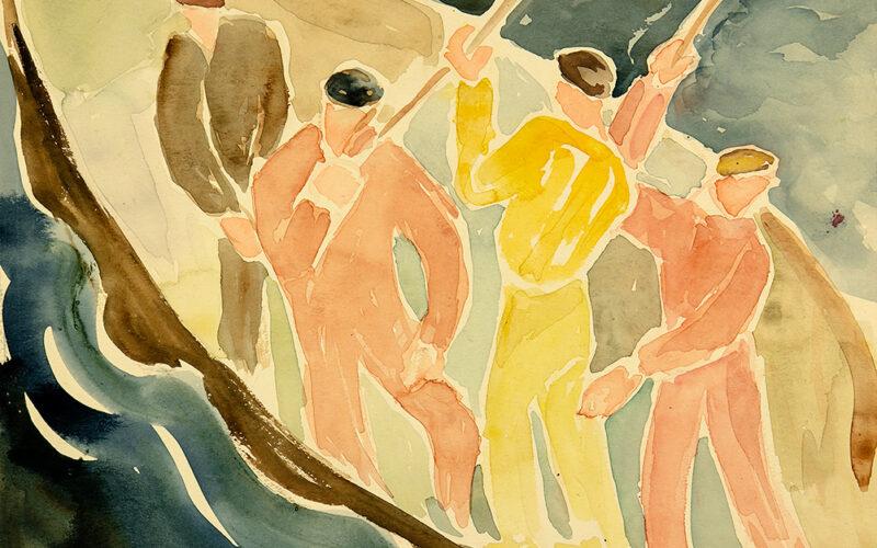 Ester Almqvist, utan titel (mansfigurer i båt), akvarell, u.å. Malmö Konstmuseum. Foto Mats Arvidsson